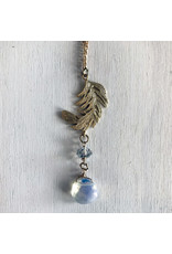 """Devil May Wear Tabitha Feather Necklace. Gold Fill Chain. Plated feather pendant. Moonstone. Swarovski Crystal. 20"""""""