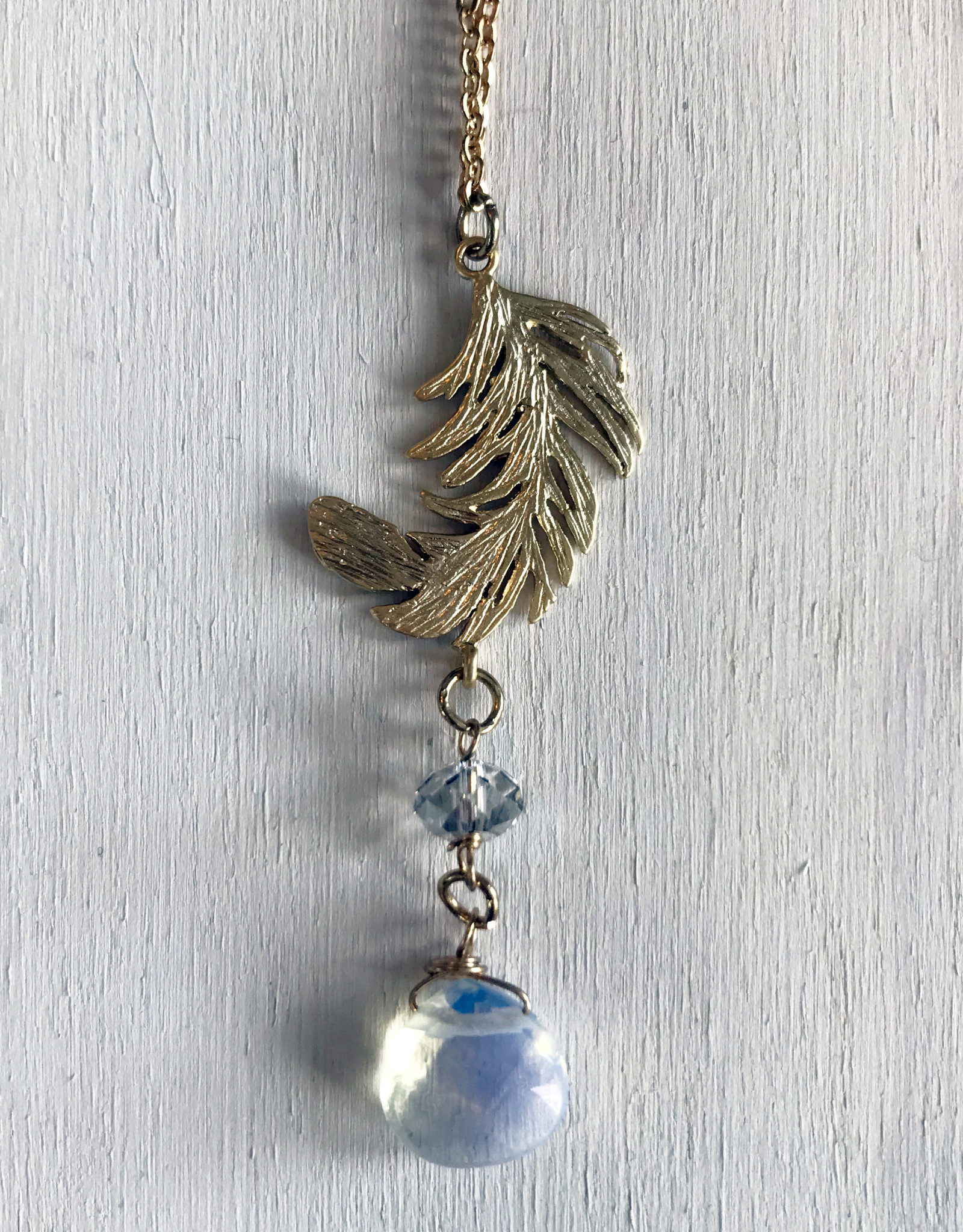Devil May Wear Tabitha Feather Necklace. Gold Fill Chain. Plated feather pendant. Moonstone. Swarovski Crystal. 20""