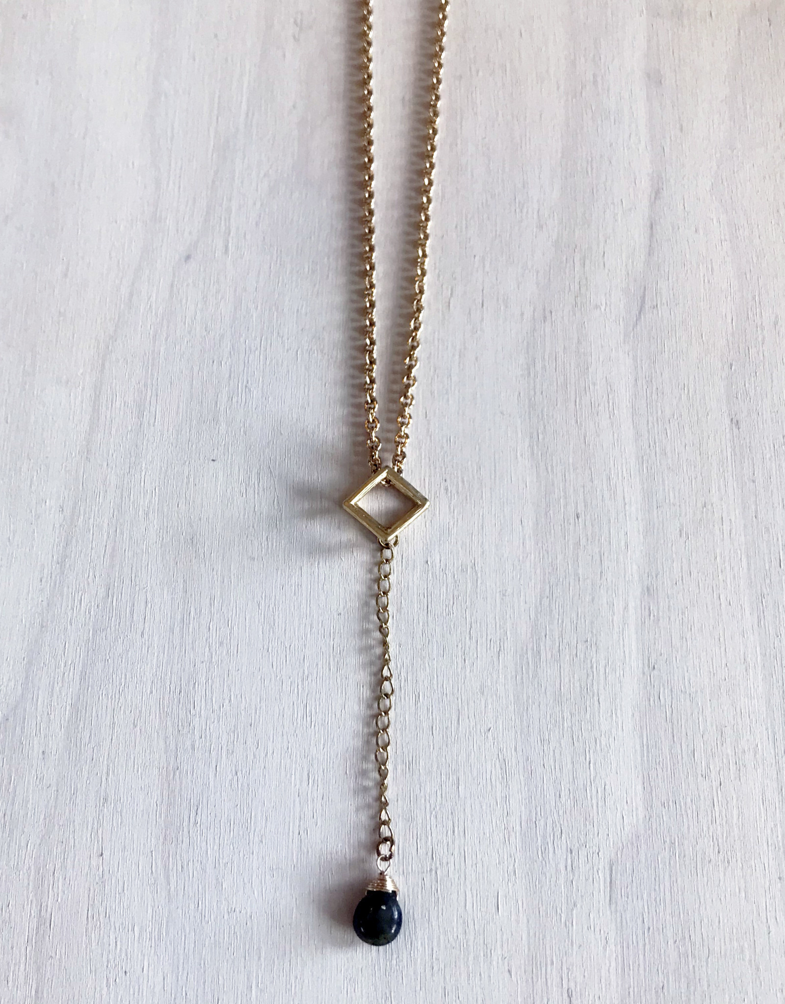"""Devil May Wear Polyhedron Necklace.Gold Plated. Labradorite Droplet. 22"""""""
