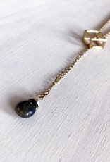 Devil May Wear Polyhedron Necklace.Gold Plated. Labradorite Droplet. 22""