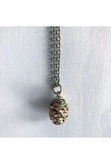 Devil May Wear Golden Pinecone. Gold plated pinecone pendant on gold plated chain. 24""