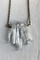 """Devil May Wear Celebdil Mountain Necklace. Polished clear Quartz. Gold Plated Chain. 23"""""""