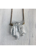 Devil May Wear Celebdil Mountain Necklace. Polished clear Quartz. Gold Plated Chain. 23""