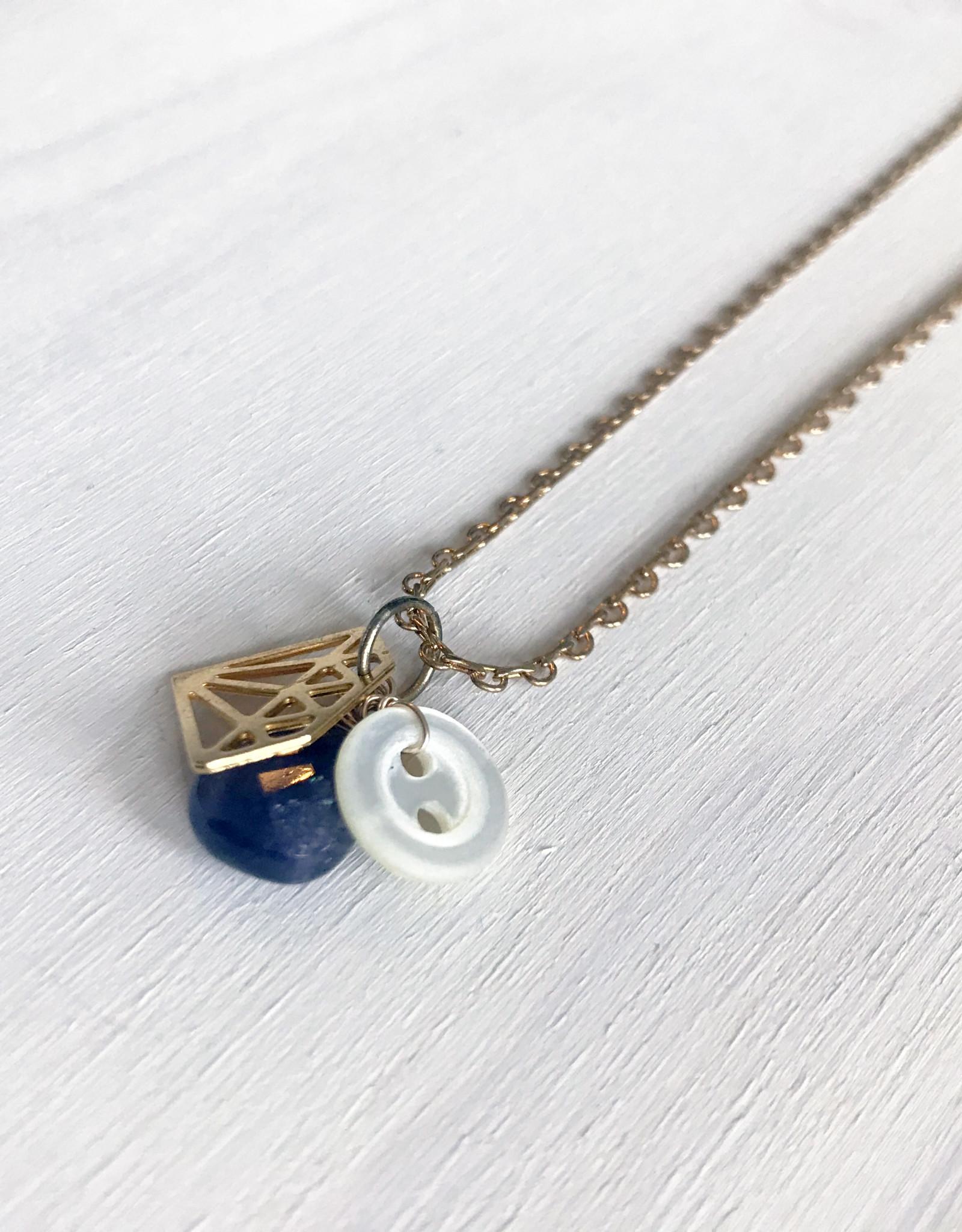 Devil May Wear Diamond Charm Necklace Gold