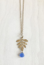Devil May Wear Fern Pendant. Blue Glass Drop. Gold plated pendant. Gold plated Chain. 24""