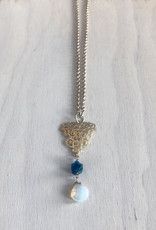 Devil May Wear Storytime Necklace. Rough Apatite stone with Moonstone drop. Swarovski Crystal. Gold plated chain. 24""