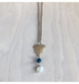 """Devil May Wear Storytime Necklace. Rough Apatite stone with Moonstone drop. Swarovski Crystal. Gold plated chain. 24"""""""
