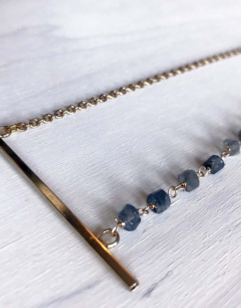 Devil May Wear Themis Necklace. 8 Labradorite Beads. Gold Plated Bar and Chain. 22""