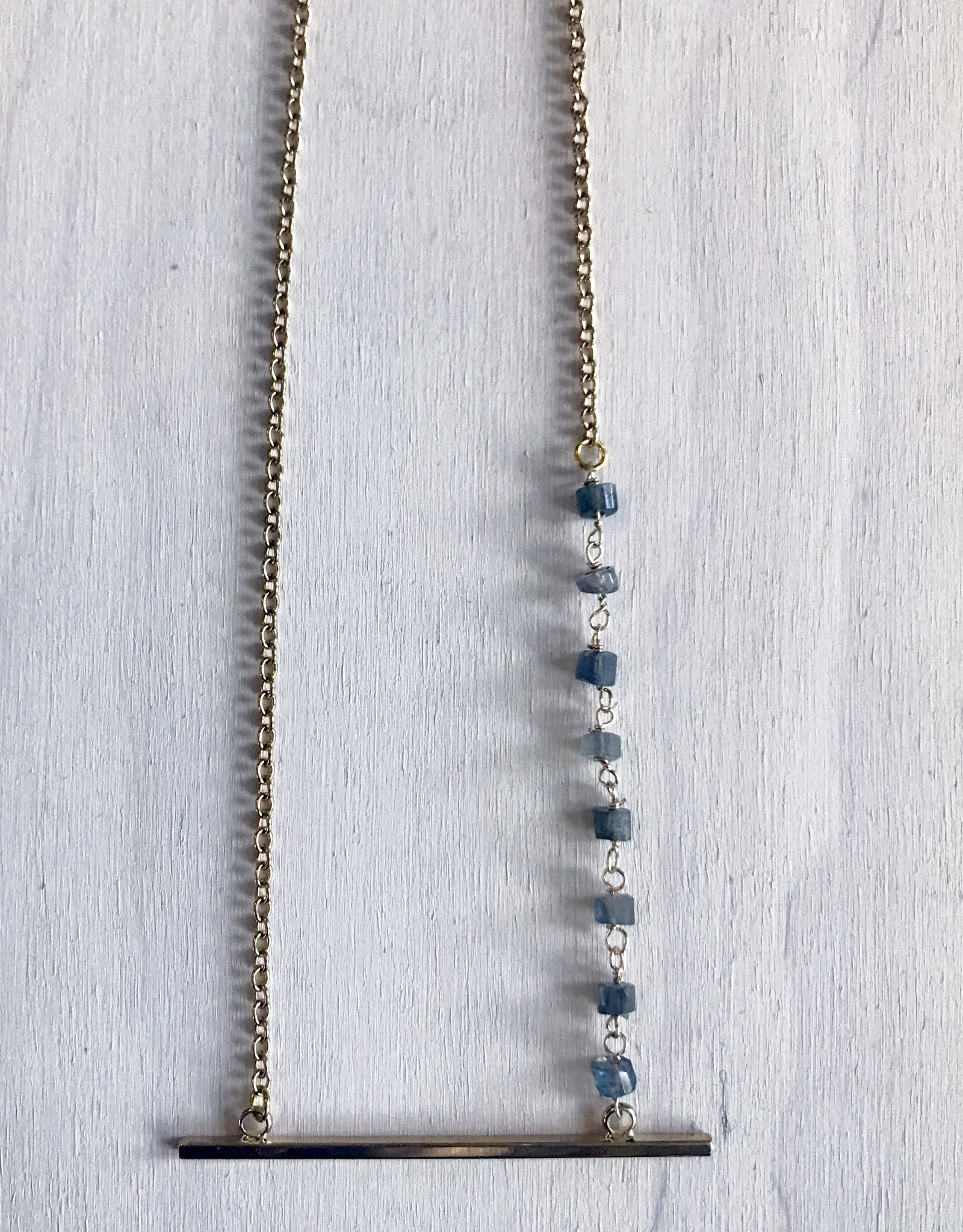"""Devil May Wear Themis Necklace. 8 Labradorite Beads. Gold Plated Bar and Chain. 22"""""""