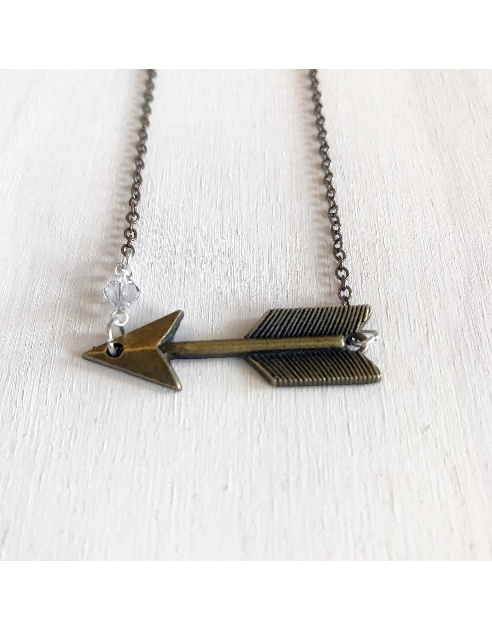 "Clear Focus Necklace. Brass Arrow with raindrop Swarovski. Brass chain. 21"""