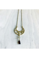 Devil May Wear Wandering Romani Textured Crescent Moon Necklace. Gold Plated pendant. Rough Garnet drop. Swarovski Crystal. Gold plated Chain. 27""