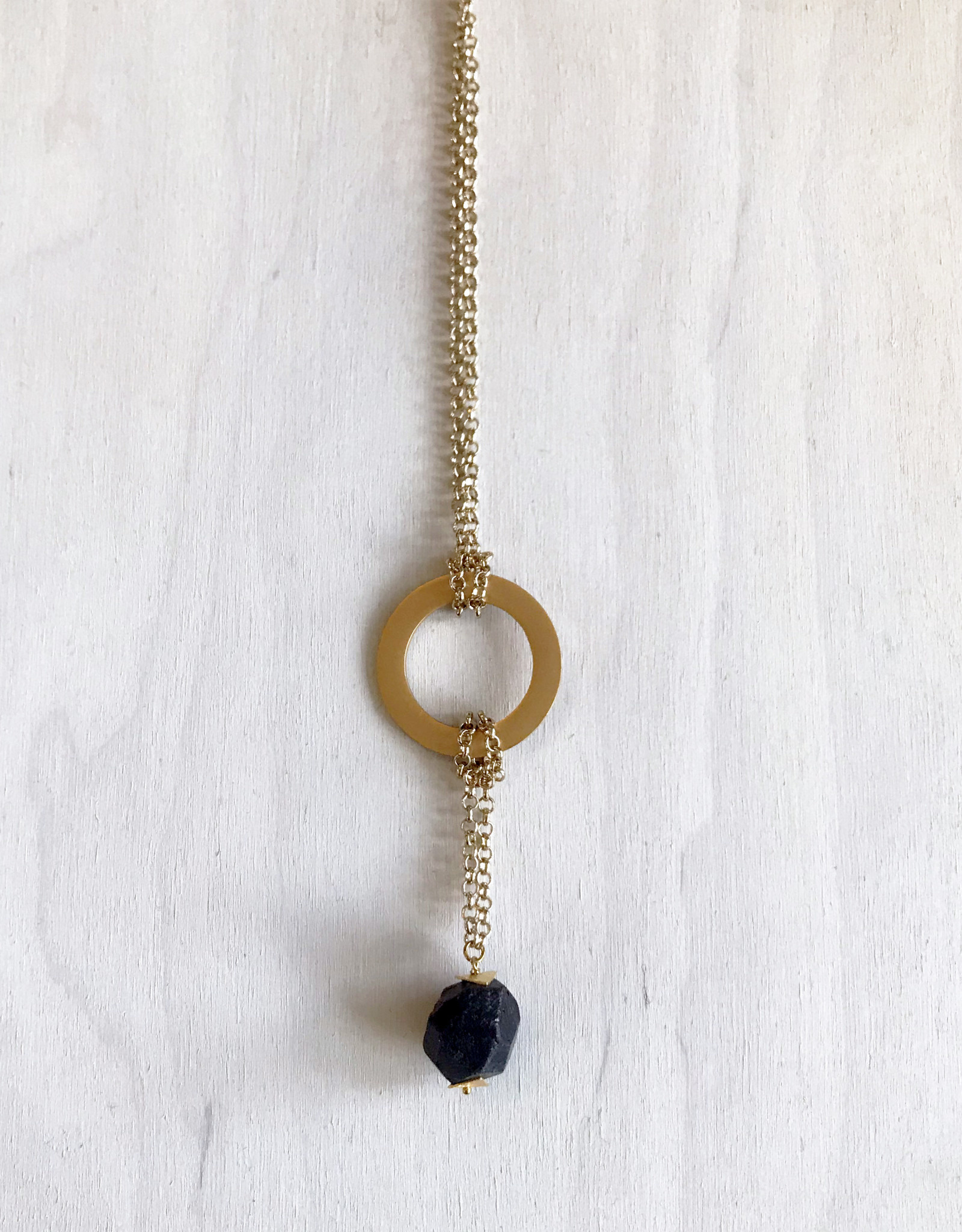 """Devil May Wear Westerlands Regal Necklace. Gold plated findings and Chain. 22"""". Large Rough Cut Garnet stone Drop on 2"""" chain."""