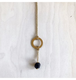 "Devil May Wear Westerlands Regal Necklace. Gold plated findings and Chain. 22"". Large Rough Cut Garnet stone Drop on 2"" chain."