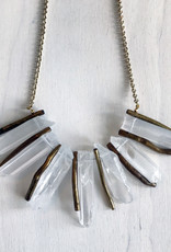 """Devil May Wear Angrboda Necklace. Raw white Quartz with Coral. Gold Plated Chain. 20"""""""