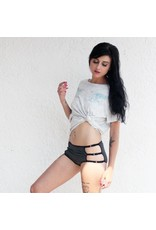 Devil May Wear Cage Panties. Bamboo blend. Adjustable size tabs. Mid Rise. Heather Grey/Black