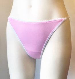 Devil May Wear Jessica Lace Back Thong. Bamboo Blend. Nylon Lace. Adjustable Waist Tabs. Pink/White