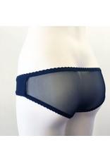 Devil May Wear Lola Sheer Back Underwear. Bamboo Blend front, Nylon Mesh back. Black/Black