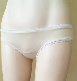 Devil May Wear Lola Sheer Back Underwear. Bamboo Blend front, Nylon Mesh back. Cream/Cream
