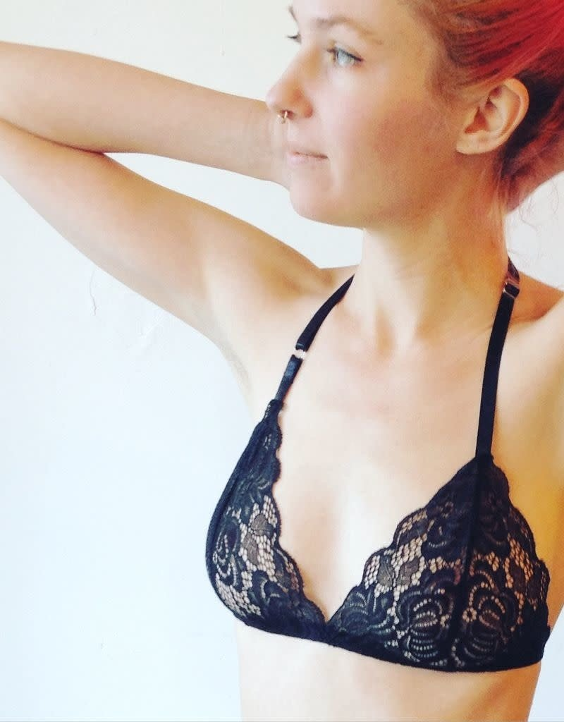 Devil May Wear French Cut Lace Bra Top. Hand Dyed Colours. Halter strap. Black