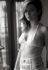 Devil May Wear French Cut Lace Bra Top. Hand Dyed Colours. Halter strap. White