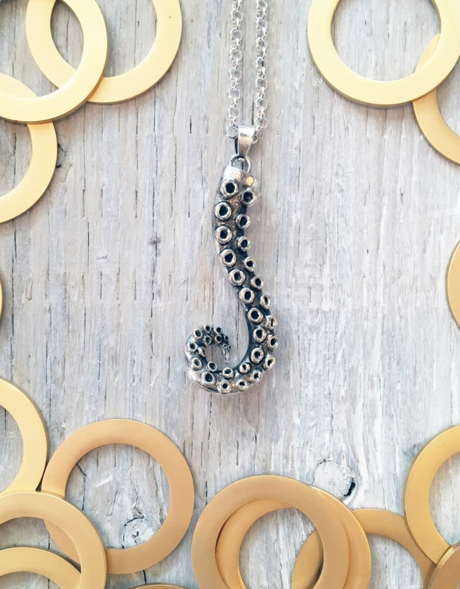 Devil May Wear Cecaelia Tentacle Necklace. Silver Plated Tentacle Pendant. Silver Plated Chain. 20""