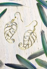 Devil May Wear Jesa Curled Leaf Earrings. Gold Plated. Cubic Zirconia. Fill Posts. 1.75""