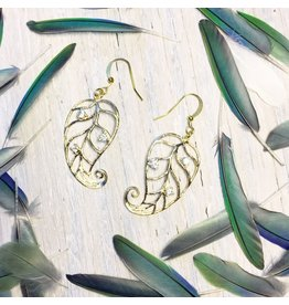"""Devil May Wear Jesa Curled Leaf Earrings. Gold Plated. Cubic Zirconia. Fill Posts. 1.75"""""""