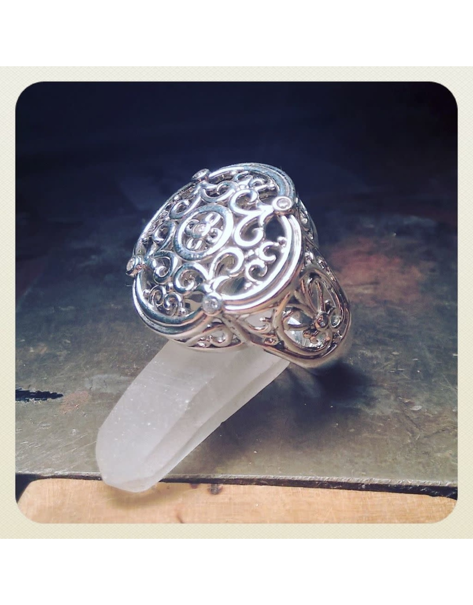 Chris Gillrie The Tower Ring. Solid Silver Filligree with 5 small Cubic Zirconia stones. Size 6.5