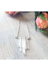 """Devil May Wear Celebdil Mountain Necklace. Polished clear Quartz. Silver Plated Chain. 23"""""""