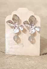Devil May Wear Silver Moonlight Dew Drop Earrings. Czech Crystal. White gold plated, silver fill posts.