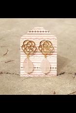 """Devil May Wear Desert Rose Earrings. Rose Quartz. Gold plated rose. Silver post. 1.5"""""""