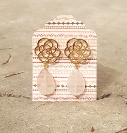 Devil May Wear Desert Rose Earrings. Rose Quartz. Gold plated rose. Silver post. 1.5""