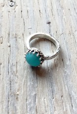 Chris Gillrie Treasure Island Ring. Crown Setting. Solid SIlver with Amazonite 8mm stone. Size 4