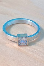 Chris Gillrie Northern Star Ring. Square Cubic Zirconia in 14K Yellow Gold Setting. Solid Silver hammered band. Size 6.5