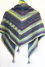 Devil May Wear Wildflower Triangle Scarf. Cotton, Silk, Wool Blend. Hand Knit. Hand Wash, Dry Flat.