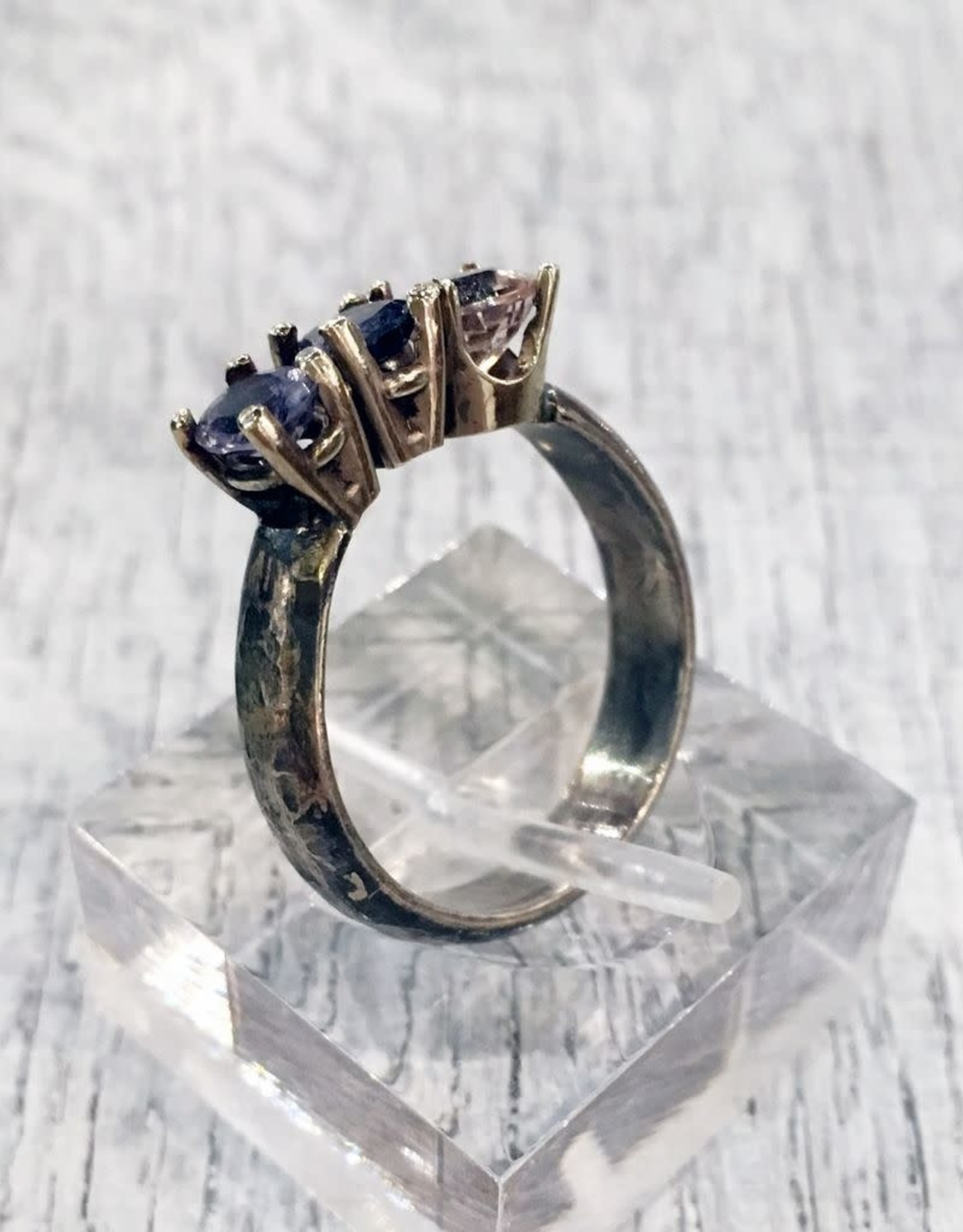 Chris Gillrie Aphrodite Ring. Solid silver band. White Gold Settings with Lolite, Amethyst and Pink Cubic Zirconia stones. Size 8.5