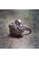 Chris Gillrie All that Glitters is Fools Gold Small Ring. Raw Pyrite stone in solid silver setting and band. Size 7