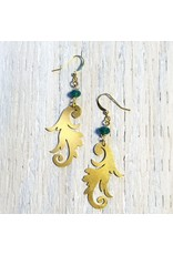 Devil May Wear Stella Paisley Earrings. Swarovski Crystal with Brass Paisley Cut out. Gold fill Hooks. 2.5''