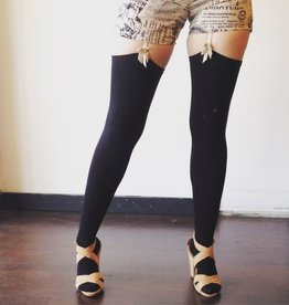 Devil May Wear Thigh High Bamboo Stockings. Seam Up the Back and in Toe. 95% Viscose from Bamboo, 5% Spandex. Must Use Garters. Black
