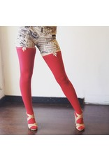 Devil May Wear Thigh High Bamboo Stockings. Seam Up the Back and in Toe. 95% Viscose from Bamboo, 5% Spandex. Must Use Garters. Scarlet