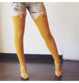 Devil May Wear Thigh High Bamboo Stockings. Seam Up the Back and in Toe. 95% Viscose from Bamboo, 5% Spandex. Must Use Garters. Gold