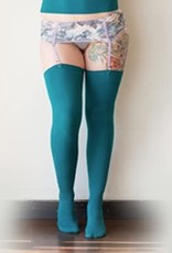 Devil May Wear Thigh High Bamboo Stockings. Seam Up the Back and in Toe. 95% Viscose from Bamboo, 5% Spandex. Must Use Garters. Turquoise
