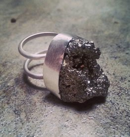 Chris Gillrie All that glitters is Fools Gold Ring. Large Raw Pyrite stone in solid Silver setting and Double Band. Size 7