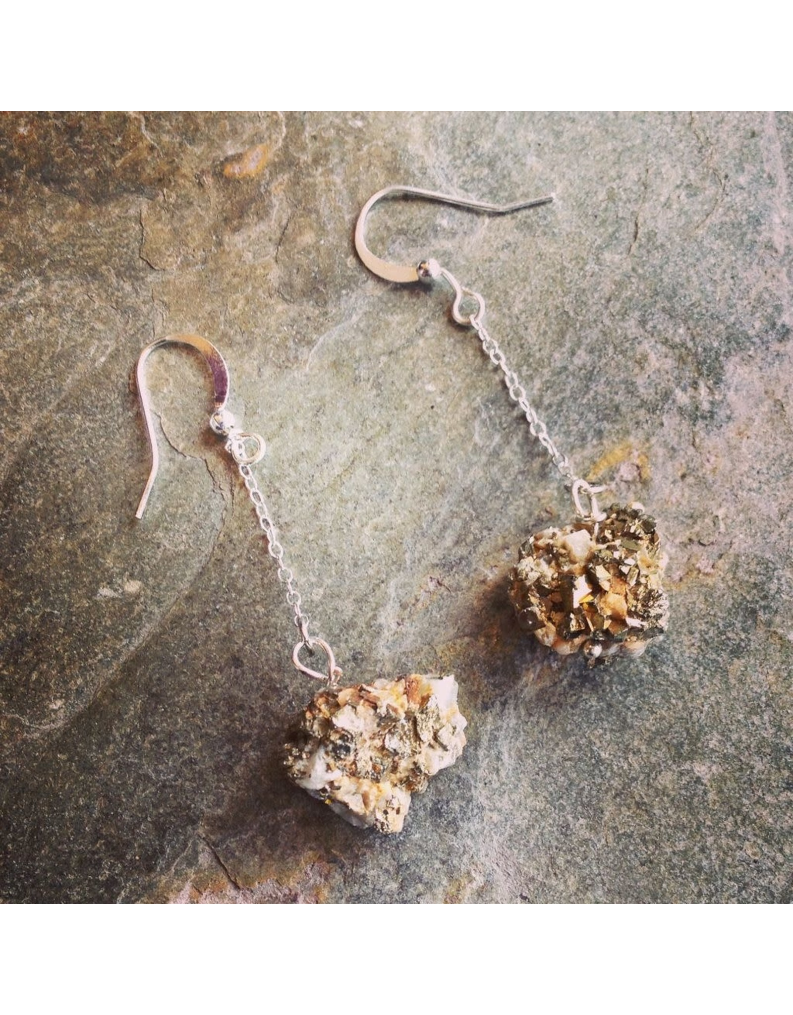 """Devil May Wear Steph Rough Pyrite Earrings. Rough Pyrite stones on Silver Plated Chain. 2.5"""""""