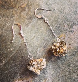 Devil May Wear Steph Rough Pyrite Earrings. Rough Pyrite stones on Silver Plated Chain. 2.5""