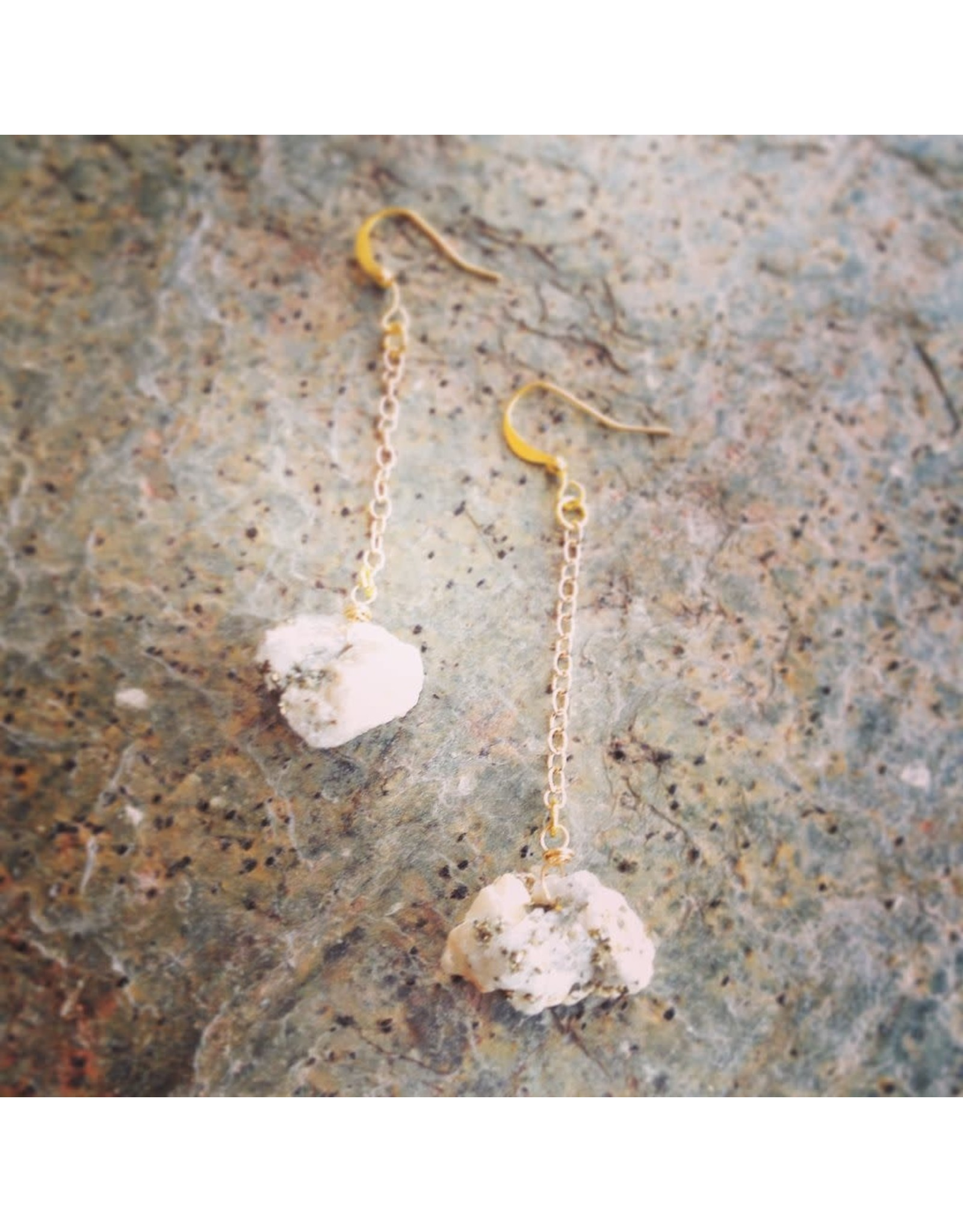 """Devil May Wear Steph Rough Pyrite Earrings. Rough Pyrite stones on Gold Plated Chain. 2.5"""""""