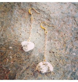 Devil May Wear Steph Rough Pyrite Earrings. Rough Pyrite stones on Gold Plated Chain. 2.5""