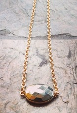 Devil May Wear Faceted Pyrite in 18K Vermilion Gold Necklace. Gold Fill Chain. 19""