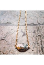 """Devil May Wear Faceted Pyrite in 18K Vermilion Gold Necklace. Gold Fill Chain. 19"""""""