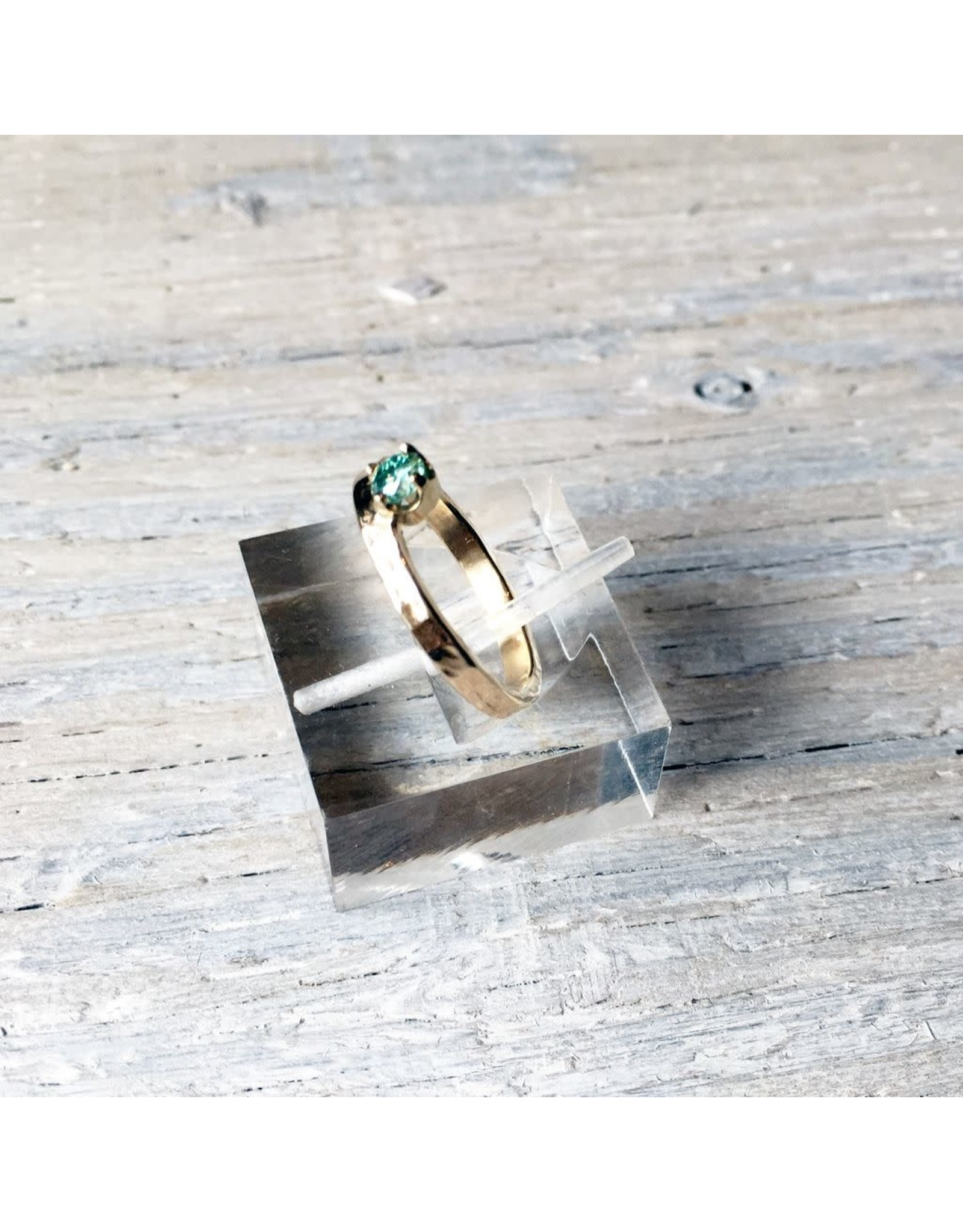 Chris Gillrie Regal Ring. 4mm Moissenite in 14K yellow gold offset from band. Size 6